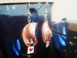 Love Fortune Cookie Earrings by Lassarina-Jewelry