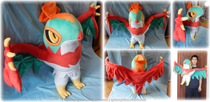 Life-size Hawlucha Plushie by Diffeomorphism