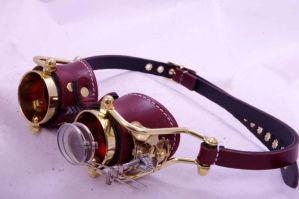 Steampunk Goggles Brown Red Lenses by SteampunkLab