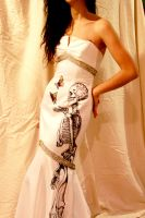 Hand-Drawn Skeleton and Butterfly Mermaid Dress by ShopStudio11