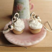 Miniature Vanilla Cupcake Earrings by fairchildart