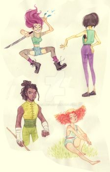 Watercolor dudes and dudettes by JuliaLost