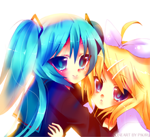 MikuXRin - Colored Lineart by pekou
