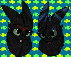 War Painted Siblings - Corfu and Toothless by therealtwilightstar