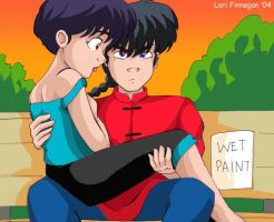 Ranma and  Akane - Wet Paint by irishgirl982