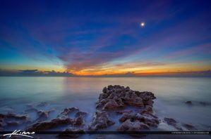 Early-Morning-at-the-Beach-Smooth-Ocean-Moon-Rise by CaptainKimo