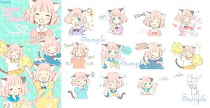 Cat ear girl Necoco of LINE sticker! by solalis1226