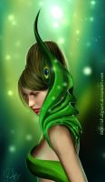 Fantasy GREEN lady ______! by SK-DIGIART