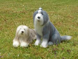Needle Felted Bearded Collie And Bobtail by Sofakitty