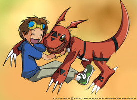Coloured Takato and Guilmon by thiro