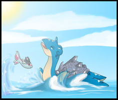 Lapras and Finneon by DasMinty
