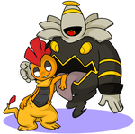 Scrafty and Dusknoir by Nukeleer