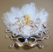 Custom wedding mask, leather and feather by shmeeden