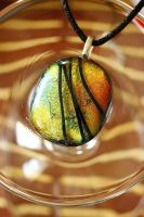 Dichroic pendant - mixed colors + black stripes by Dimolicious