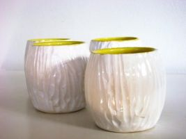 White Faux wood cups by lizetpottery