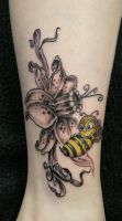 Flower Bee Tattoo by 2Face-Tattoo