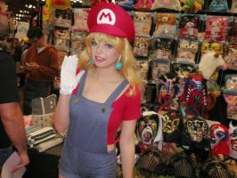 Peach Cosplaying As Mario by KairiTheValeyard