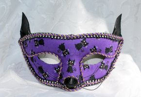 Purple Kitty Cat Masquerade Mask by DaraGallery