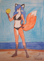 Penelope with a Volleyball by JohnZScott