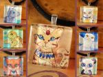 Glass Tile Necklaces Square by Starrydance