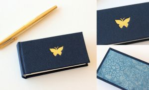 Mini Journal in Blue with Butterfly by GatzBcn