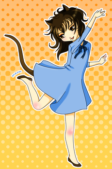 Dancing in a blue dress by ladymeow