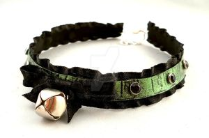 Green and Black Leather Bell Choker Necklace by StorytellerZero