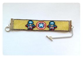 Captain America Beaded Bracelet by kitsunesama7