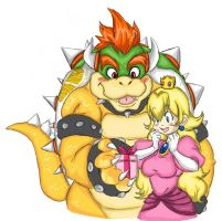 Mario Bros: Bowser and Peach by rinoaneko