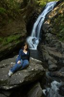 Relaxing by a Waterfall by froggynaan