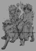 Commission: two boys + wolf by hangdok