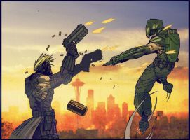 Hawkeye vs Green arrow by SpicerColor