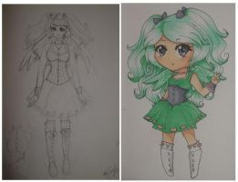 Flying Mint Bunny human version (sketches) by WingsR4flying