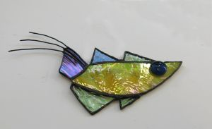 Rooser tailed Archerfish STained Glass Suncatcher by trilobiteglassworks