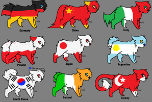 Flag cat adopts- One More left! by LexiDog01