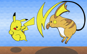 Pikachu Vs. Raichu by Swimmergirlie