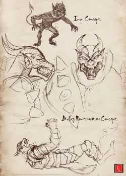 Bulky Demon and Imp Sketch by castortroy3497