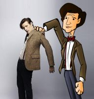 the 11th doctor and cartoon by CPD-91