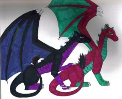 Miroku and Sango Dragons by moatswimmer-inugrl