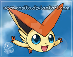 Victini flying through the sky by Veemonsito