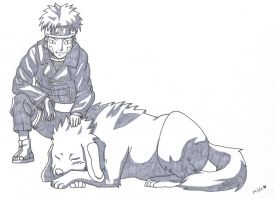Kiba and Akamaru by millez16