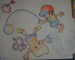 SSBB: Ness and Lucas Poster by Jisu-chan