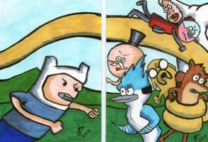 Adventure Time vs Regular Show by johnnyism