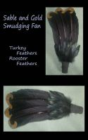 Sable and Gold Smudging Fan by SilverGryphon8