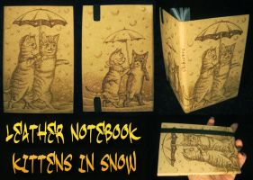 Kittens Leather Notebook by ChibiPyro