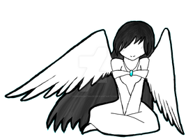 Black and White Anime Angel by TheMidnightMage