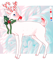 December 21st - candy cane white tailed deer by Kiboku
