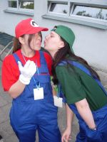 Mario and Luigi Kiss :3 by one-slip
