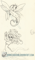 A Mermaid and a Monster - Doodle Sheet! by shidonii