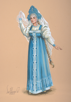 Lady in a Russian traditional dress by galupchick